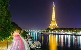 Preview wallpaper Eiffel Tower, Paris, France, river, lights, illumination, night