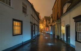 Inglaterra, alcester, rua, noturna, molhados