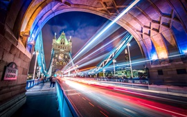 Англия, Лондон, город, мост, светлые линии, ночь