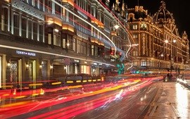 Preview wallpaper England, London, holiday lights, street, night, light lines