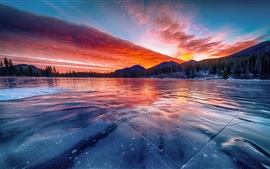 Estes Park, Colorado, United States, lake, ice, clouds, trees, mountains, sunset
