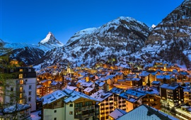 Preview wallpaper Europe, Swiss, Matterhorn, Zermatt, Alps, city night, lights