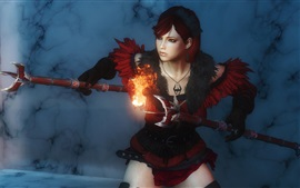 Preview wallpaper Fantasy girl, pose, weapons, fire