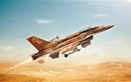 Fighter flight, sky, desert