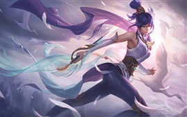 Preview wallpaper Fiora, beautiful girl, bird, League of Legends