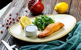 Fish, lemon, pomegranate, salmon, sauce