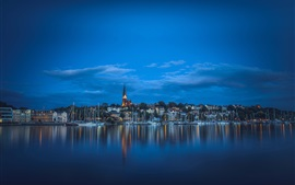 Aperçu fond d'écran Flensbourg, Allemagne, fjord, bateaux, maisons, nuit