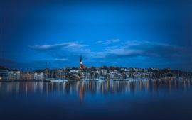 Фленсбург, Германия, фьорд, лодки, дома, ночь