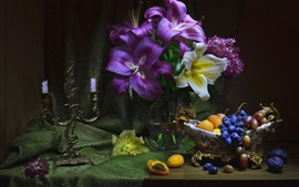 Flowers, lily, apricots, grapes, still life