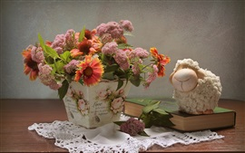 Preview wallpaper Flowers, vase, toy sheep, book, still life