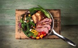 Preview wallpaper Food, ham, tomatoes, meat, pot, wood board