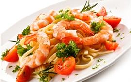 Пища, макароны, креветки, помидоры
