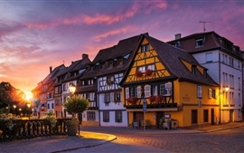 Preview wallpaper France, Colmar, dawn, street, cafe, sun rays