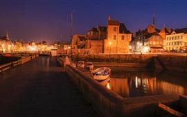 Preview wallpaper France, Honfleur, bridge, lights, boats, night