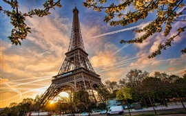 Preview wallpaper France, Paris, Eiffel Tower, cityscape, flowers blossom, spring, dusk