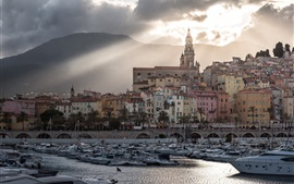 France, Provence, city, yachts, river, clouds, dusk