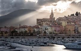 Francia, Provence, ciudad, yates, río, nubes, anochecer