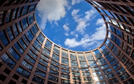 Preview wallpaper France, Strasbourg, European Parliament building, windows, blue sky, clouds
