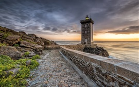 Preview wallpaper France, sea, lighthouse, rocks, road, clouds