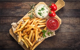 Preview wallpaper French fries, tomatoes sauce