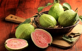 Preview wallpaper Fresh fruit, guava, basket