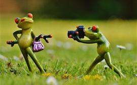 미리보기 배경 화면 개구리 장난감, 포즈, 잔디