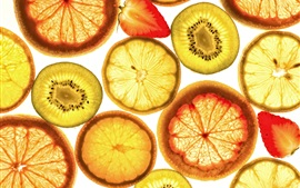 Preview wallpaper Fruit slices, orange, kiwi, strawberry