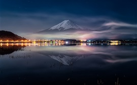 Fuji mount at night, lake, water reflection, lights, Japan