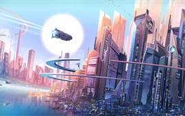 Preview wallpaper Futuristic city, fantasy, buildings, spaceships