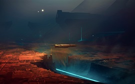 Futurista, ciencia, ciudad de fantasía, nave espacial, imagen de arte