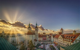 Germany, Bavaria, Regensburg, church, city, clouds, sun rays