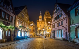 Preview wallpaper Germany, Bavaria, alley, houses, night, lights