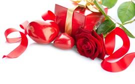 Presente, amor coração, rosa, fita