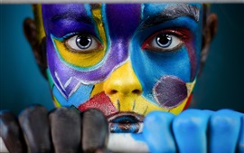 Preview wallpaper Girl face, colorful paint, look, hands, art