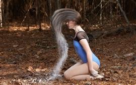 Menina, estilo de cabelo, biquíni, pose