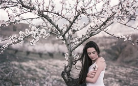 Preview wallpaper Girl in spring, flowers, tree