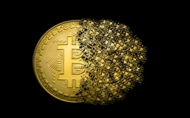 Gold bitcoins, coins, dissolving