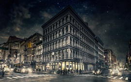 Preview wallpaper Gotham, New York, Manhattan, city, night, street, buildings, USA