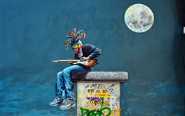 Graffiti, figura, pared, colorido, máscara, guitarra, luna