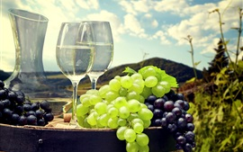 Preview wallpaper Grapes, wine, cups, mountain, clouds