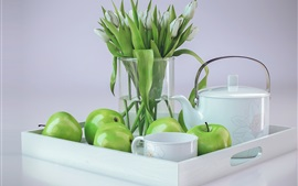 Preview wallpaper Green apples, tulips, cup