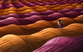 Preview wallpaper Greenhouses, orange and purple, woman, basket