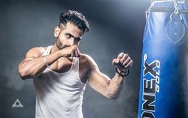 Парень, бокс, кулаки, упражнения, мышцы, спорт