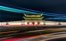 Preview wallpaper Gwanghwamun Gate, Gyeongbok Palace, Seoul, Korea, night, lights