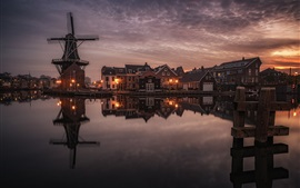 Preview wallpaper Haarlem, Netherlands, houses, lights, river, windmill, clouds, night