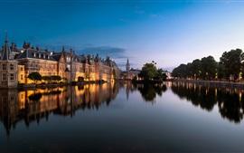 Haia, Países Baixos, cidade, lago, edifícios, árvores, luzes, crepúsculo