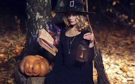 Halloween, witch, girl, broom, pumpkin, lantern