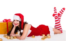 Preview wallpaper Happy Christmas girl, red dress, gifts