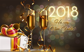 Preview wallpaper Happy New Year 2018, champagne, gift