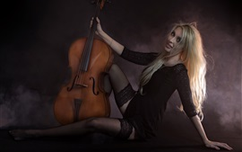 Preview wallpaper Happy blonde girl, cello, music